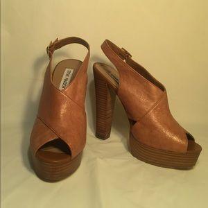 Steve Madden Platform Faux Tan Leather Heels